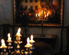 Cosy Den (Joopey) Tags: winter light roses castle dark painting nikon candles d70 chairs sweden d70s picture palace oldbuilding sideboard eskilstuna lightanddark manorhouse waxcandles sundbyholm sundbyholmsslott