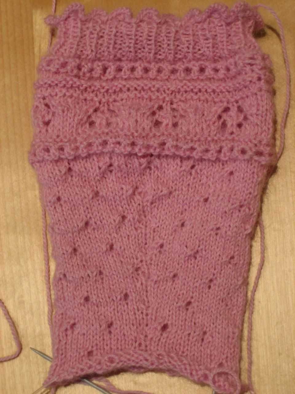 Drop sock progress, back