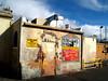 Saggio's Back Door (benrobertsabq) Tags: door blue red sky newmexico brick yellow vent back afternoon cloudy steel parking rear gray lot saturday albuquerque overcast 45 faux nm polarizer saggio nuevomexico landofenchantment tiffencircularpolarizer