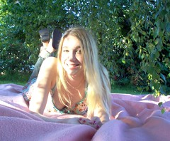 (lucidcats) Tags: pink light portrait woman sunlight green girl beautiful grass leaves vancouver leaf shadows wa