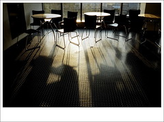 shadows of chairs and tables