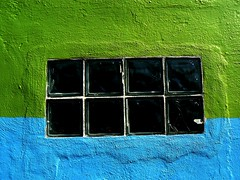 Color and Texture.... (annpar) Tags: blue color green texture glass wall austin october paint vivid sunny block