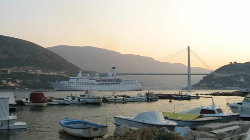 Cruise ship entering Dubrovnik Bay, Montenegro