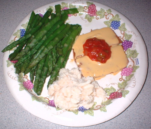 March 20th lunch - NutriSystem ham (with cheese & salsa), and crab & asparagus