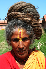 Pashupatinat lady baba (Wen-Yan King) Tags: nepal hair asia long religion holy kathmandu hindu dreads wandering dreadlock sadhu tikka