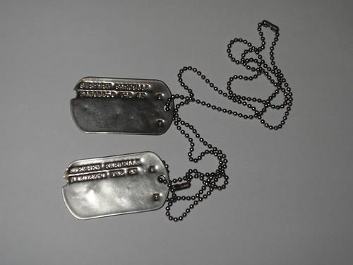 dog tags army. World War II dogtags