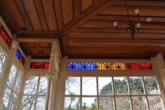Detail of glassed-in verandah of Larnach Castle, Otago Peninsula, New Zealand (contemplari1940) Tags: glass verandah otagopeninsula newzealand williamlarnach wjmlarnach robertarthurlawson architect dunedin gothicrevival thecamp