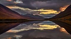 Last Light, Loch Etive, Scotland (ajnabeee) Tags: light sunset dusk loch lake etive glencoe glen coe scotland highlands reflection clouds dramatic orange still water