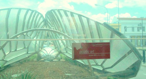 Cicada Sculpture near Cultural Centre bus station, South Brisbane, Queensland, Australia - view from inside of lift