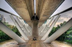 Under the tracks (DanielKHC) Tags: metal architecture concrete singapore sony structure symmetry scifi abstructure mrt alpha hdr futuristic a100 photomatix tonemapped sigma18200mm 5xp tthdr doverstation danielcheong hdrenfrancais danielkhc