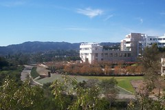 a view of the Getty Institute and gardens
