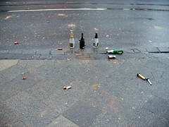 remain 2 (mascha_?) Tags: grey sylvester wine bottles empty asphalt newyearsday