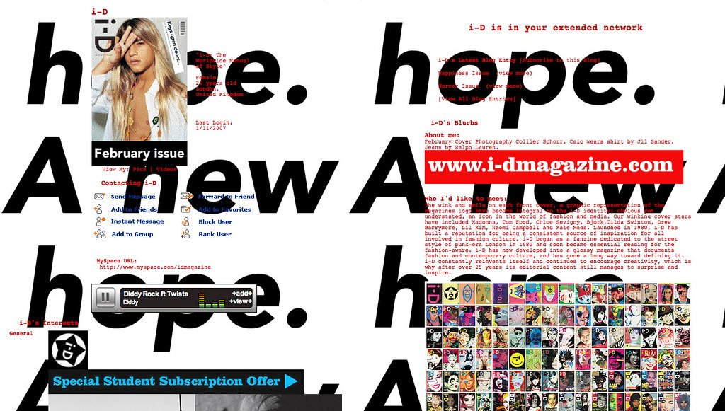 i-D Magazine on myspace