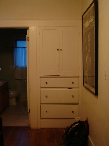 Hallway cabinet and shelves