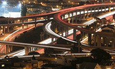 The Meeting of 2 Freeways (A Sutanto) Tags: sf sanfrancisco california ca city longexposure usa cars night lights highway view overpass freeway bernalheights expressway roads bernal aplusphoto