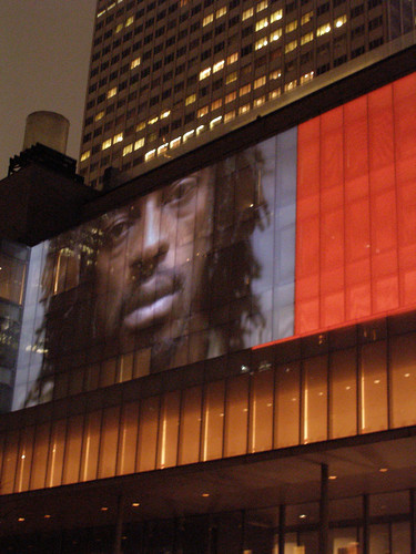 "Singer/Actor Seu Jorge in ""Sleepwalkers,"" a videoprojection project by Doug Aitken @ MoMA"