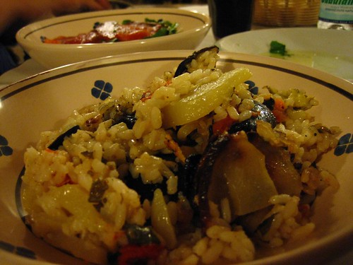 A very good oven-baked risotto with potatoes and mussels