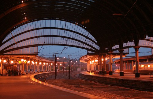 york station at dusk