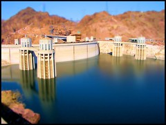 Hoover Dam in Technicolor (ARKNTINA) Tags: arizona lake water psp miniature dam nevada towers az nv hooverdam lakemead coloradoriver paintshoppro powerplant americanwest hydroelectric tiltshift hydroelectricpower intaketowers nv06 faketiltshift top10interesting intakestructures random6