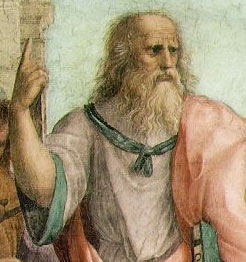 Raphael's depiction of Plato defining the difference between true and false rhetoric