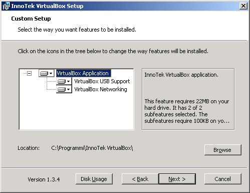 VirtualBox - installazione - setup cartella dinstallazione