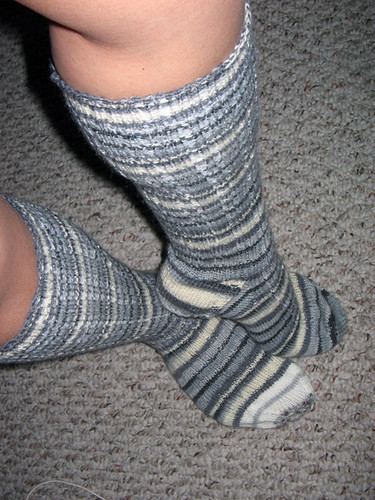 Yarrow Rib socks modeled