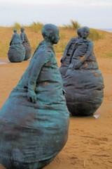 I wonder (Canon John's 7D (Wow! 3,000,000+ views, Thanks)) Tags: beach bronze statues conversation piece southshields weebles