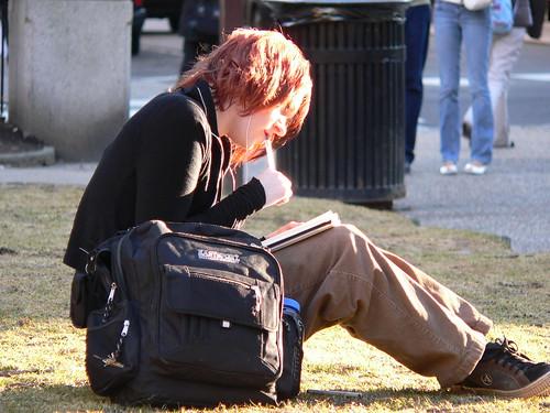 Writing in the sun