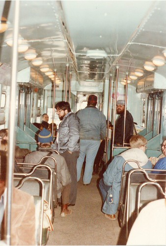 Interior view of a CTA 6000 series rapid transit car.