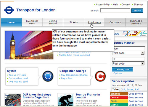 TfL website preview