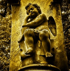 Relaxing Cherub (mightyquinninwky) Tags: cemetery stone sepia geotagged memorial 5 kentucky headstone tombstone lexingtonkentucky award textures cherub 200views downtownlexington lovelovelove invite gl