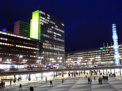 Sergeltorg by night, Stockholm. Photo: Andrea Gerak