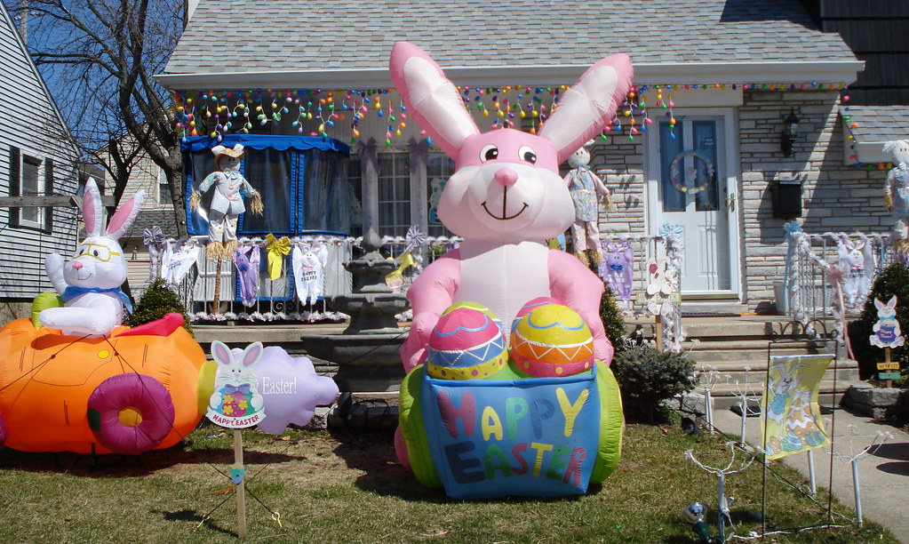 Easter yard decoration easter yard american country for Outdoor easter decorations for the home