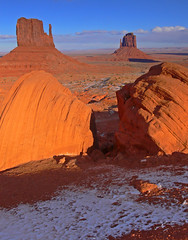 Sentinels of the desert (katepedley) Tags: winter arizona usa rock america utah interestingness sandstone desert searchthebest spires tripod panasonic erosion explore nativeamerican redrock monumentvalley mittens reservation fz30 buttes naturesfinest navajonation gndfilter impressedbeauty