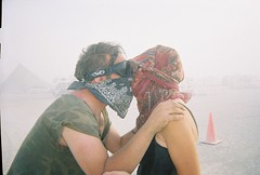 Dust storm kiss (In dust we trust) Tags: portrait hope kissing fear 2006 burningman blackrockcity brc future dust duststorm