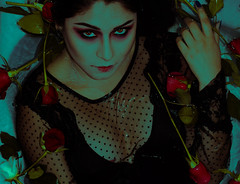 Midnight (Judio Rock) Tags: portrait roses girl guatemala water underwater dots rosas love fineart grain frilm digital composition inspiration process photoshop colors crop canon 50mm beauty eyes lips vempire makeup