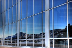 Mountain reflection off Arnold Hall (iceman9294) Tags: nikon colorado coloradosprings airforce usafa 2007 chriscoleman airforceacademy nikonstunninggallery unitedstatesairforceacademy nikond80 usafachapel iceman9294