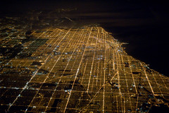 Chicago from air at night