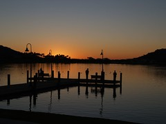 Sunset on North Lake (Videoal) Tags: trees sunset arizona people lake mountains reflection evening fishing dock ducks explore estrella goodyear impressedbeauty exploreinterestness