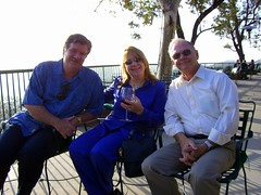 Joe, Lynn, and Mike enjoy the outdoor patio (FrogMiller) Tags: california ca orange restaurant wine socal lawyers orangecounty happyhour barristers orangehill attorneys ocbarristers