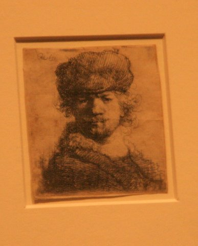 Self portrait etching of Rembrandt