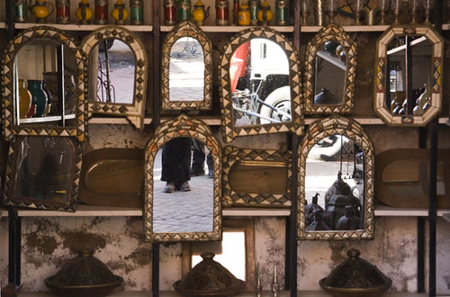 Mirrors on souk stall (featuring my feet)