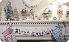 a mish mosh of glittery pink, turquoise, silver and gold! (holiday_jenny) Tags: christmas pink trees houses holiday kitchen stockings glitter vintage turquoise feather wreath cardboard mantle mantel shabbychic reindeeer