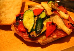 Grilled veg and salami sandwich