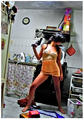 I SHOOT YOUR HEART (Lampeduza) Tags: love kitchen lady mess gun domestic