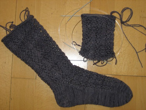 Progress on the Lenten Rose socks
