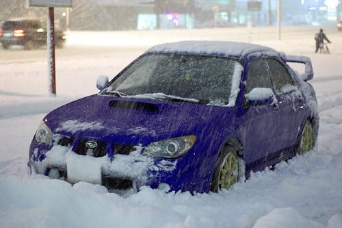 2006 Subaru Impreza WRX STI in snow