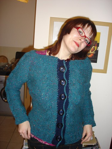 bulky cabled cardigan