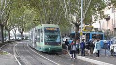 Light Rail in the Trastevere Neighborhood of Rome, Italy