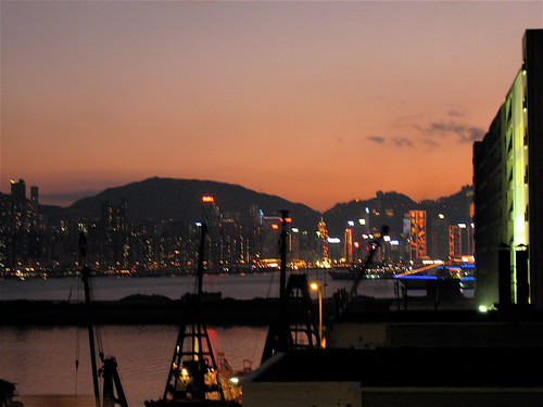 An evening landscape of HK Island East from my office
